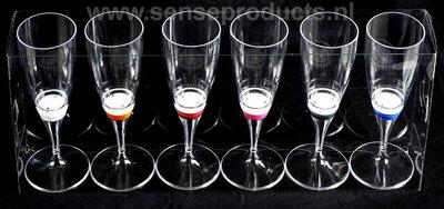 Set van 6 lichtgevende champagneglazen