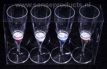 set van 4 led champagne glazen